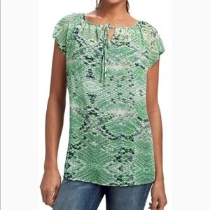 CAbi Darby Blouse Style 746 in Green Snakeskin